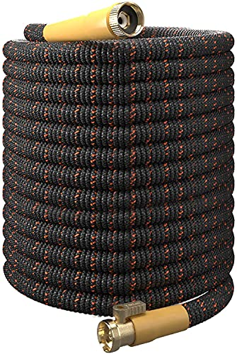 TBI Pro Garden Hose Expandable and Flexible - Super Durable 3750D Fabric | 4-Layers Flex Strong Latex | No-Rust Brass Connectors with Pocket Protectors - Water Hoses for Gardening (100FT Only)