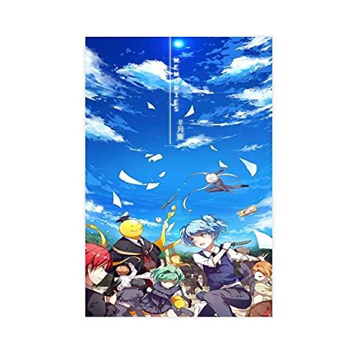 Póster de lienzo de asesinato para el aula Korosensei con 6 carteles de lona para decoración de dormitorio, paisaje, oficina, habitación, decoración de regalo, 30 x 45 cm