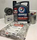 Pack Aceite TOTAL QUARTZ 7000 DIESEL 10W40 5 lts + Filtros (aceite+combustible+habitaculo) + MOTUL...