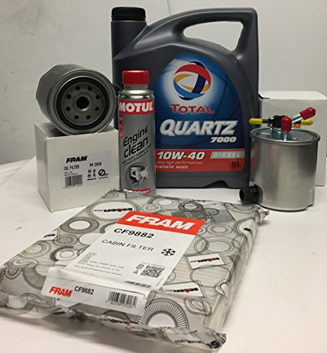 Pack Aceite TOTAL QUARTZ 7000 DIESEL 10W40 5 lts + Filtros (aceite+combustible+habitaculo) + MOTUL engine clean 300ml