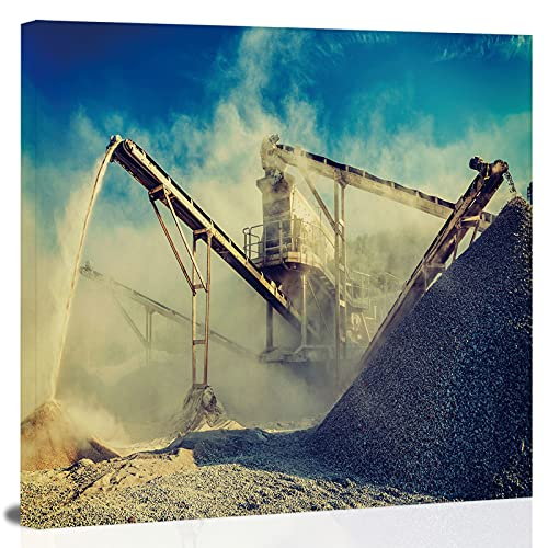 effect filtered hipster style of Industrial crusher (rock stone crushing machine) at open pit ng and processing plant for crushed stone,Prints on Canvas d gravel for Living Room, Bedroom and Office 8