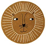 OYOY Mini Lion Rug - Alfombra redonda para habitación infantil (95 cm de diámetro, mezcla de algodón y lana), diseño de cabeza de león