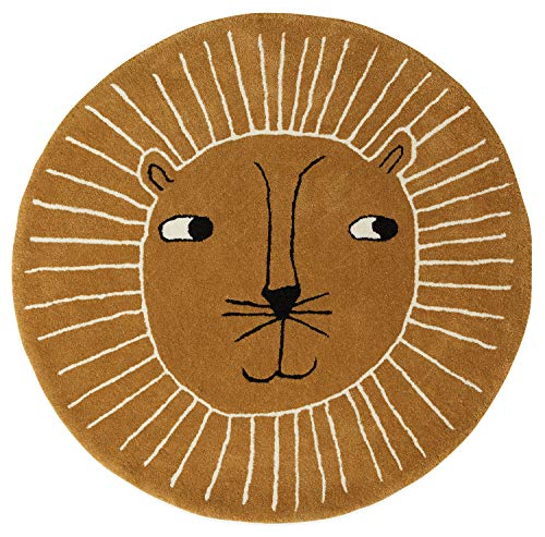 OYOY Mini Lion Rug - Runder Kinderzimmer Teppich Löwen Kopf - Kinder Spielteppich für Jungen und Mädchen - Durchmesser 95 cm aus einem Wolle Baumwolle Mix