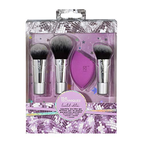 Real Techniques Sparkle-On-The-Go - Set di mini pennelli e spugnette per trucco trio