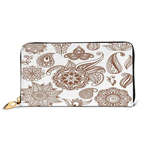 Women's Long Leather Card Holder Purse Zipper Buckle Elegant Clutch Wallet, Ethnic Abstract Floral Elements Different Mandala Icons Vintage Exotic Nature,Sleek and Slim Travel Purse