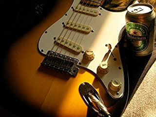 Home Comforts Peel-n-Stick Poster of Beer Heineken Stratocaster Guitar Electric Guitar Vivid Imagery Poster 24 x 16 Adhesive Sticker Poster Print