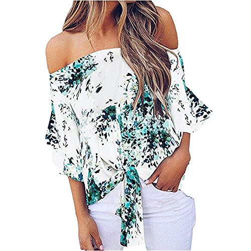 N\P Camisa de gasa suelta con un hombro para mujer