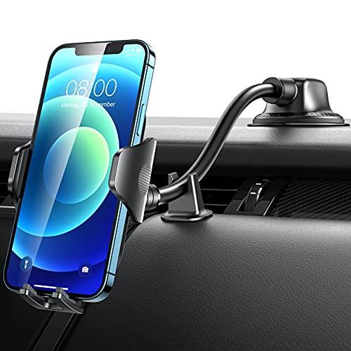 車載ホルダー フレキシブルアーム VANMASS スマホホルダー 二重固定 2in1 車 スマホスタンド 吸盤式&エアコン吹き出し口式兼用 360度回転 安定性 カー用品 エアコン ダッシュボード 日本語取扱説明書 厚いケース/手帳型ケース対応 4-7インチ全機種対応 iPhone/Sony/Samsung/OnePlusなど機種対応