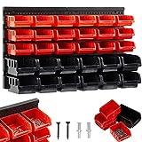 AREBOS Stapelboxen Wandregal / 32tlg Lagersystem/Rot-Schwarz / 12 große Stapelboxen, 18 mittlere...