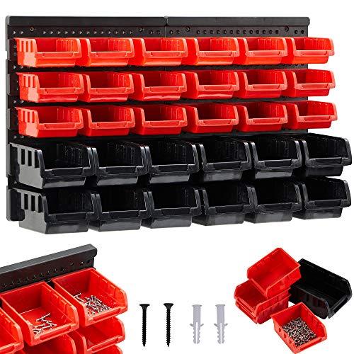 AREBOS Stapelboxen Wandregal / 32tlg Lagersystem/Rot-Schwarz / 12 große Stapelboxen, 18 mittlere Stapelboxen/Inklusive Befestigungsmaterial/Herausnehmbar & Stapelbar