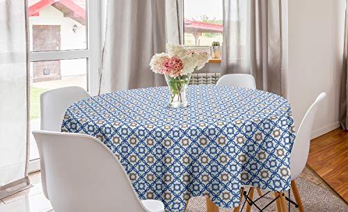ABAKUHAUS Quatrefoil Rond Tafelkleed, Delfts Blauw, Decoratie voor Eetkamer Keuken, 150 cm, Pale Bruin Blauw Wit