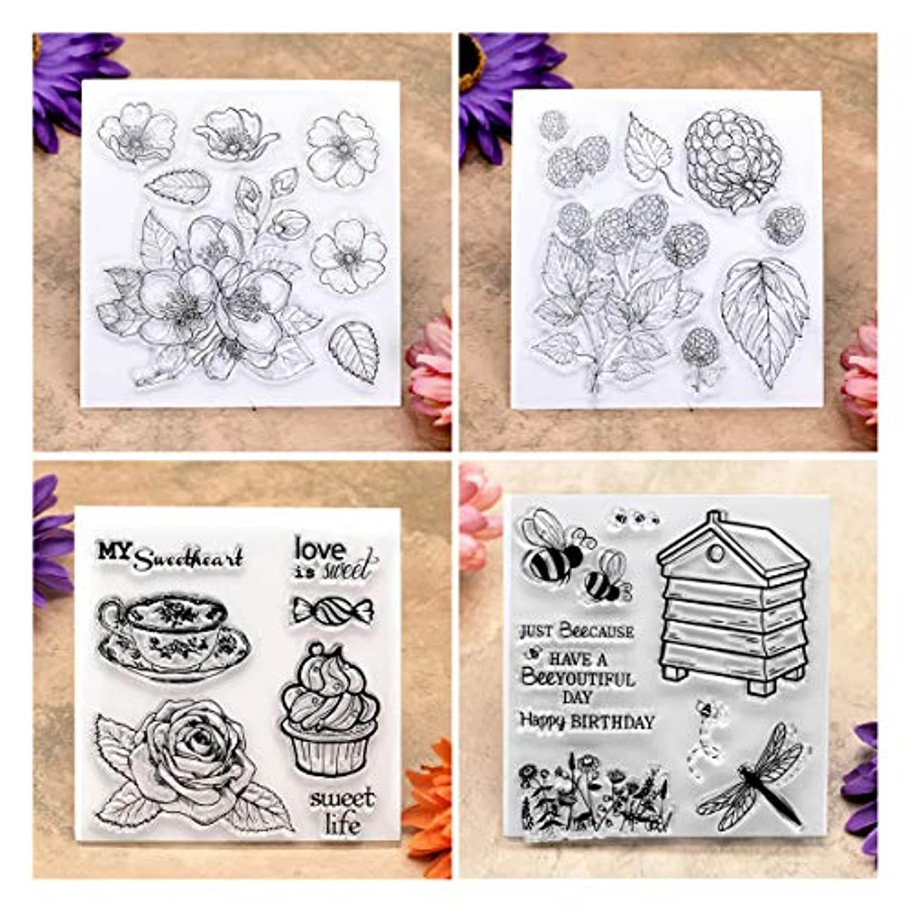 Kwan Crafts 4 Sheets Different Style Flowers Bee Clear Stamps for Card Making Decoration and DIY Scrapbooking