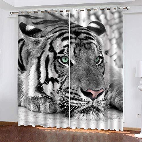 YUNSW Tiger Pattern 3D Digitaldruck Polyester Faservorhänge, Wohnzimmer Küche Schlafzimmer Verdunkelungsvorhänge, Perforierte Vorhänge 2-Teiliges Set