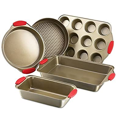 Kitchen Komforts Bakeware Set 5-Piece on-Stick Baking Pan Silicone Handle Grips, Carbon Steel