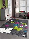 CARPETIA Enfants Tapis Filles Papillon Rose Blanc Turqoise Vert Gris Größe 120x170 cm