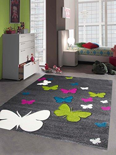 CARPETIA Kinderteppich Mädchen Schmetterling pink Weiss grau grün türkis Größe 80x150 cm
