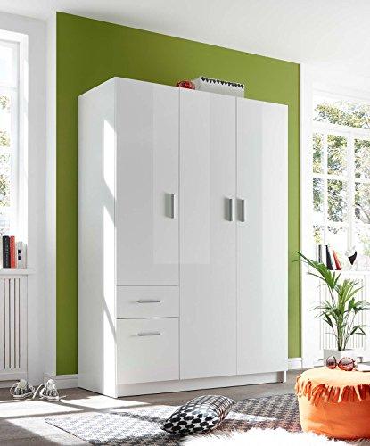 lifestyle4living Kleiderschrank, Hochglanz Weiß, 135 cm   Drehtürenschrank 3 türig mit 2 Schubladen im modernen Stil