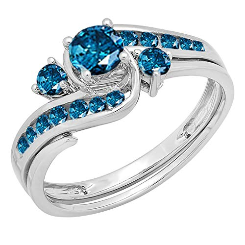 Dazzlingrock Collection 0.90 Carat (ctw) 10k Round Blue Diamond Ladies Swirl Bridal Engagement Ring Matching Band Set, White Gold, Size 9 Diamond Ladies Bridal Set