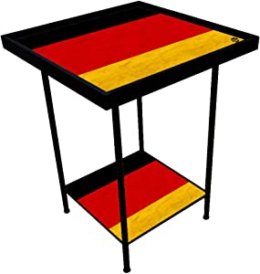 Nutcase Designer Metal Table Bedside Table, Indoor/Outdoor 2 Tray End Table for Bedroom, Garden, Patio, Balcony, Corner, Home, Office-Made in India - Germany Vintage Distressed Flag