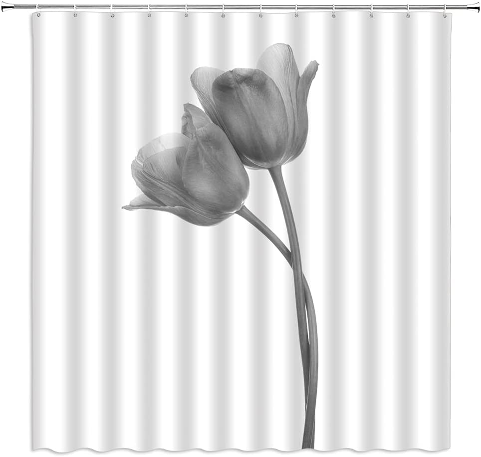 Tulip Shower Curtain White Max 56% OFF Elegant Flower New product!! Plant Mo Floral Spring