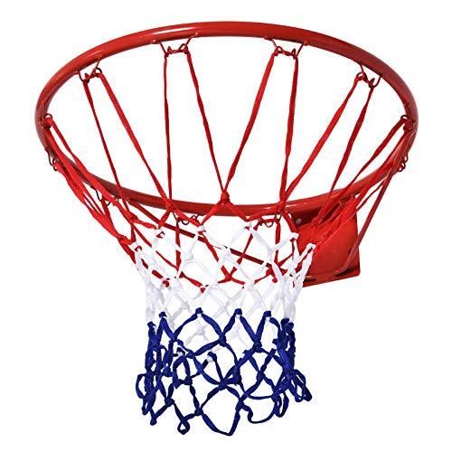 homcom Rete Cerchio da Basket, Cerchio in Metallo Rete in Nylon, Rosso Bianco Blu, Φ46cm