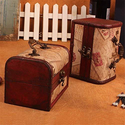 XXSHN Maleta de Madera Vintage Caja de joyería pequeña de Madera Juego de 2 Cajas de Almacenamiento con patrón de Sello de Caja Vintage Ideas de Regalo para niñas para la decoración del hogar (Color: