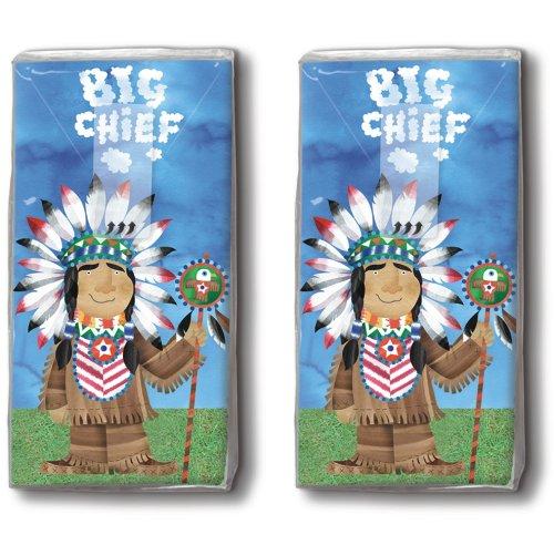 2 x 10 zakdoeken Big Chief – grote verzamelaar/indianen/motiefzakdoeken