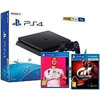 "PS4 Slim 1Tb Negra Playstation 4 Consola + FIFA 20 + Gran Turismo Sport ""GT Sport"""