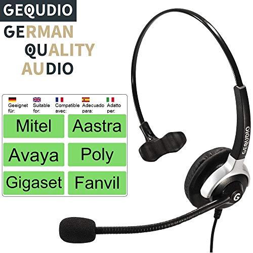 Auricular con micrófono para Mitel®, Avaya®, Polycom® y Gigaset® teléfonos con conector RJ | 60 g de peso