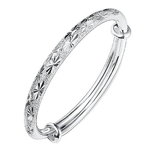 chenJBO Personalized Sterling Silver Bangle Bracelet for Women Girls Simple Friendship Charm Bracelet Bangle Jewelry Gift Bamboo Silver Bracelet Bangle