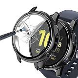 Jvchengxi Funda con Protector de Pantalla Compatible con Samsung Galaxy Watch Active 2 40mm, PC Cubierta Estuche HD Antiarañazos Vidrio Templado Funda Protectora para Galaxy Watch Active 2 (Negro)