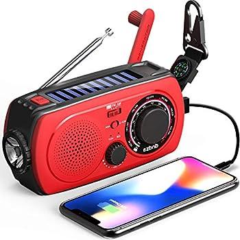 Ezbnb Am/Fm Cell Phone Charger 2300mAh Power Bank Portable Solar Radio