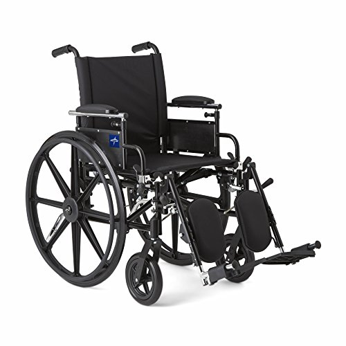 Medline Robust and Rugged Wheelchair with Flip-Back Desk Arms, Removable Elevating Leg Rests and Anti-Tippers, Black, 18' Seat