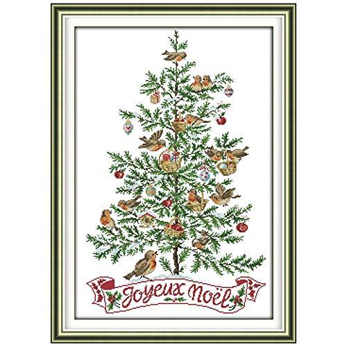 JIUYUE Eeuwige Liefde De Kerstboom Met Vogels Chinese Cross Stitch Kits Ecologisch Katoen Gestempeld DIY Gift Nieuwjaar Decoraties Cross Stitch Kits