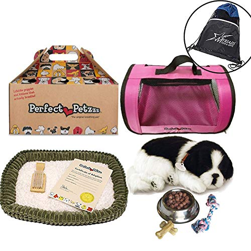 Perfect Petzzz Border Collie Breathing Pet, Pink Tote for Plush Breathing Pet, Dog Food, Treats, Chew Toy and Myriads Drawstring Bag