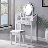 SALBAY <span class='highlight'>Dressing</span> <span class='highlight'>Table</span> With Stool Dresser Set 1 Mirror 5 Drawer Makeup Desk White Bedroom
