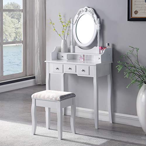 SALBAY dressoir tafel met kruk dressoir set 1 spiegel 5 lade make-up bureau wit slaapkamer