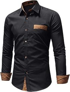 N\P Camisa de los hombres Slim de los hombres a juego de color de manga larga camisa blanca