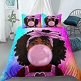 Black Girl Bubble Gum Bedding Set Twin ,Black Girl Magic Art Comforter Cover , Cute African American Girl Printed Duvet Cover Sets,Kids Bedroom Decor (1Duvet Cover +1Pillowcase) No Comforter
