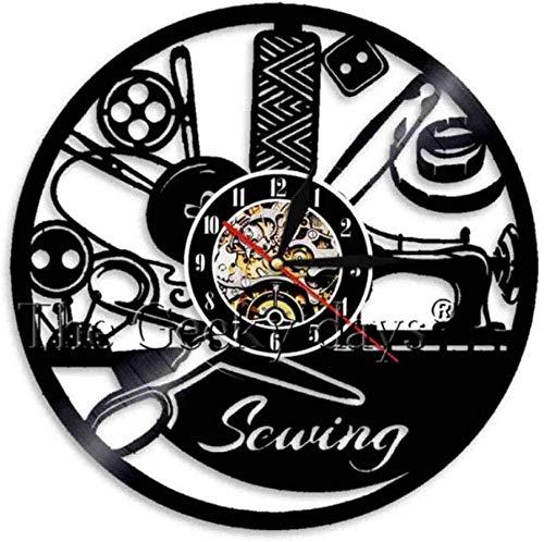 ZZLLL Reloj de Pared de Vinilo Reloj de Pared de Vinilo Reloj de Pared Decoración del hogar Máquina de Coser de música Led Lámpara de Pared Regalo Retro Hombre Mujer Dibujos Animados Anime