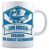 Beschdstoff Angler Tasse - Zum Angeln geboren - weiß/blau. / Kaffeetasse: 330ml