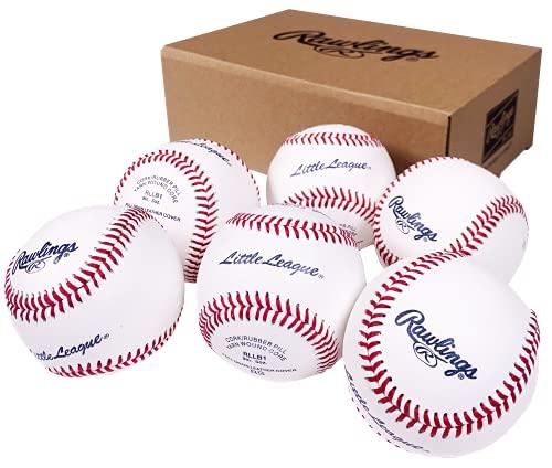 Rawlings Little League Competition Grade Youth Baseballs, Box of 6 Balls, RLLB1