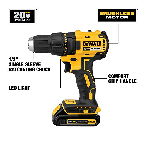DEWALT DCD777C2 20V Max Lithium-Ion Brushless Compact Drill Driver,Yellow/Black