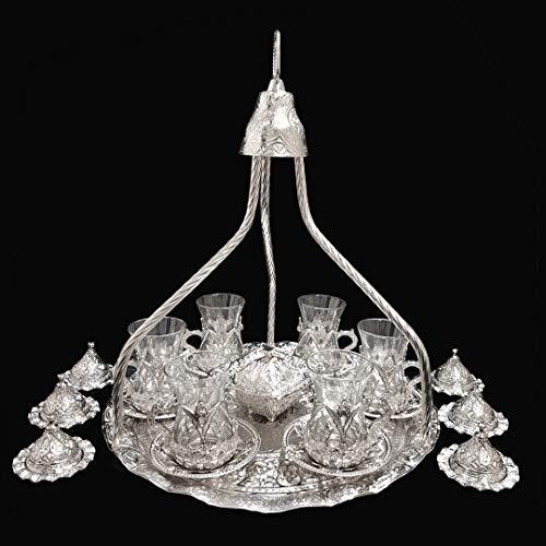 Set vassoio e tazze con piattini da 6, ottomano turco, in argento e in ottone per tè, caffè. Migliore venditore Regno Unito, set C