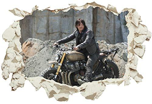 Unified Distribution The Walking Dead - Daryl Dixon - Norman Reedus - Wandtattoo mit 3D Effekt, Aufkleber für Wände und Türen Größe: 92x61 cm, Stil: Durchbruch