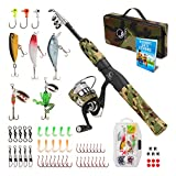 OYSTERN Kid's Fishing Pole Kit with Spinning Reel - 62 Piece Tackle Bag, 4lb Test Line - Including Beginner's Guide eBook - Toddler Fishing Pole Combo - Youth Telescopic Portable Rod