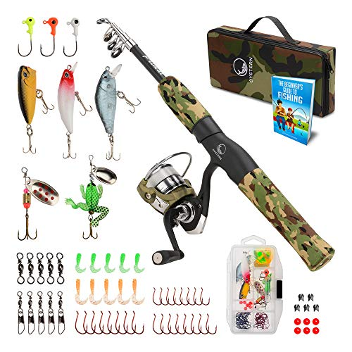 Oystern Kid's Fishing Pole Kit with Spinning Reel - 62 Piece Tackle...