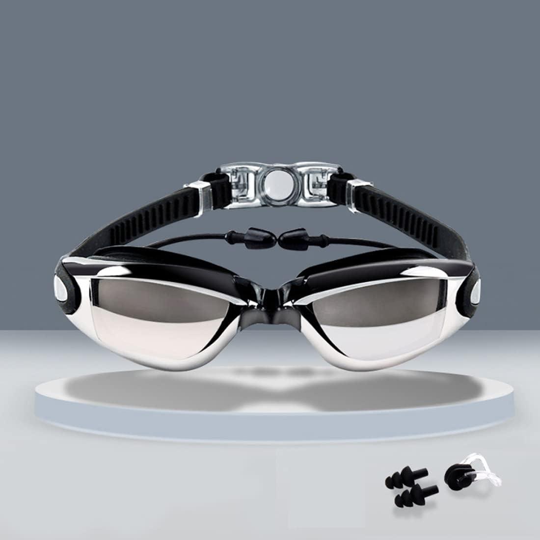 KOEY Gafas de Natación,Protección UV Impermeable y Antivaho,con Funda Protectora y Puente Nasal de Silicona Suave,con Clip Nasal y Tapones para los Oídos,Apto para Hombres,Mujeres y Adolescentes