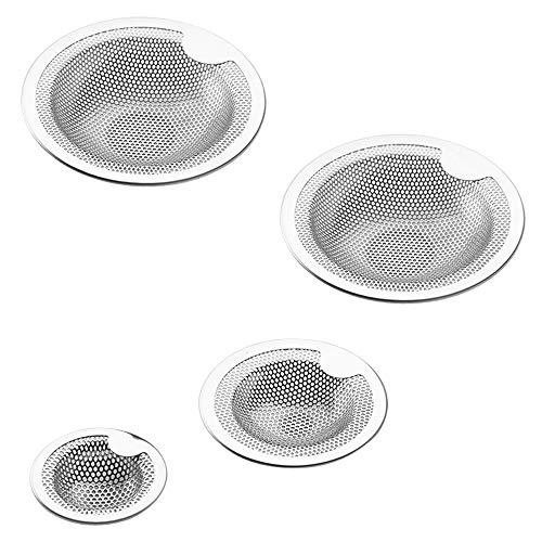 4 Stück Kitchen Sink Seiher, FineGood Edelstahl Anti-Clogging Mesh-Sink Abtropffläche Kitchen Sink ablassen Filterkorb-Silber