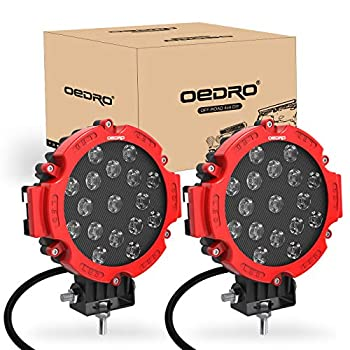 oEdRo 7 Inches 51W 5100LM LED Light Pods Round Spot Light Pod Off Road Driving Lights Fog Bumper Roof Light Fit for Boat Jeep SUV Truck Hunters Motorcycle